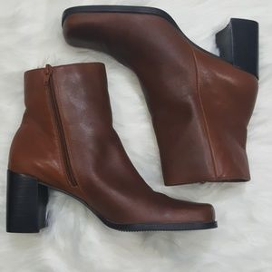 Brown Square Toe Chunky Heel Ankle Boot Size 8